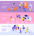 professional cleaning service isometric banners vector image vector image