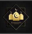 ramadan kareem islamic greeting with mosque vector image vector image