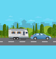 road travel poster with car and trailer vector image vector image