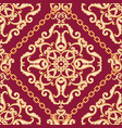 seamless damask pattern golden beige on pink vector image