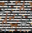 seamless pattern with wild animals such as vector image vector image