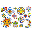 set mexican cute naive art items vector image