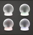 snow globe winter transparent background set vector image vector image