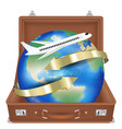suitcase open with airplane fly around world vector image vector image