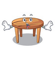 surprised cartoon wooden dining table in kitchen vector image