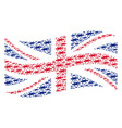 Waving british flag pattern of barbed wire items