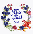 wild forest fruits wreath bouquet card vector image vector image