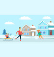 winter recreation family vector image vector image