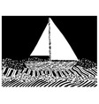yacht on sea waves in graphic style vector image vector image