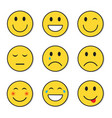 yellow smiling face positive and negative people vector image vector image