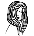 Young womans portrait lineart vector image