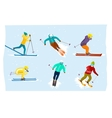 People skiing set in flat design vector image