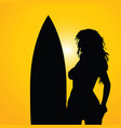 girl with surfboart silhouette on yellow vector image