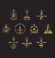 set of isolated lighthouse icons with rocks vector image