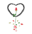 A Black Rope Heart with Red Roses vector image