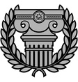 ancient ionic column with laurel wreath vector image vector image