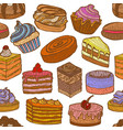 background with sweets in hand drawn doodle style vector image vector image