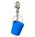blue plastic bucket on a big grey hook onn white vector image