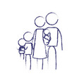blurred blue contour of pictogram big family group vector image