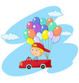 boy driving red car with balloons vector image vector image