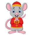 cartoon rat greeting gong xi gong xi with chinese vector image