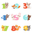 cartoon set with colorful numbers from 1 to 9 and vector image