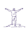 cheerful hand drawn man with raised hands back vector image vector image