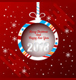 christmas ball banner design with merry christmas vector image
