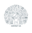 contact us banner thin line3 vector image vector image