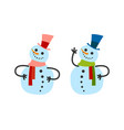 cute snowman girl and boy in warm winter scarf vector image