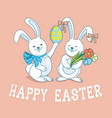 easter bunnies with easter egg vector image vector image