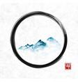 far blue mountains in fog in black enso zen circle vector image vector image