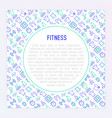 fitness concept with thin line icons vector image vector image