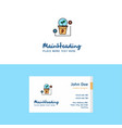 flat power plant logo and visiting card template vector image