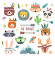 funny tribal animals faces wild woodland zoo vector image