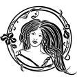 girl portrait in art nouveau style vector image vector image