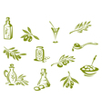 Green olives and organic oil symbols vector | Price: 1 Credit (USD $1)