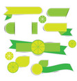 green ribbon banner label on white background vector image vector image