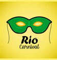 happy brazilian carnival day green carnival mask vector image vector image