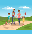 happy family on a background of nature scenery vector image vector image