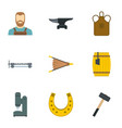 industrial blacksmith icon set flat style vector image vector image