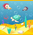 inhabitants of underwater world background vector image