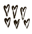 ink hearts set on white vector image vector image