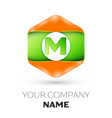 letter m logo in the colorful hexagonal vector image vector image
