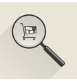 Magnifier icon and shopping trolley vector image vector image