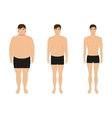 Male weight loss slimming man body after diet vector image