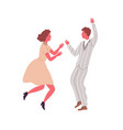 man and woman performing retro dance elements vector image vector image