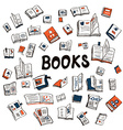 Many books sketchy background vector image vector image