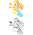 Mermaid coloring page vector image vector image