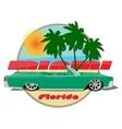 Miami florida car cadillac cabriolet green vector image vector image